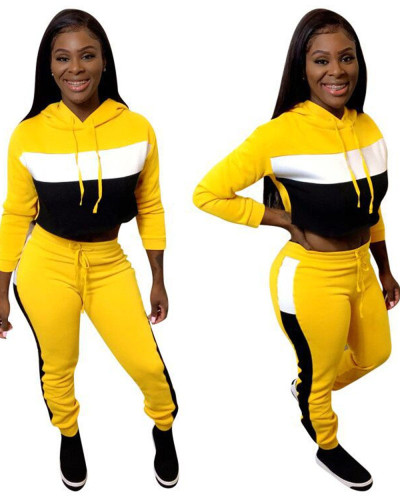 Yellow Casual patchwork thickened Hoodie suit