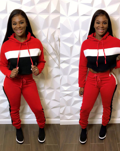 Red Casual patchwork thickened Hoodie suit