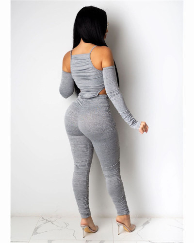 Gray Fashion casual pleated solid color front and back Jumpsuit