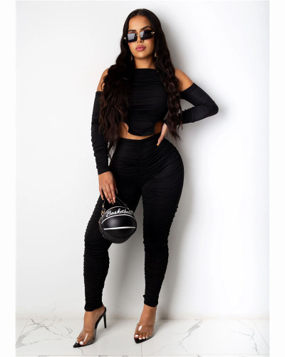 Black Fashion casual pleated solid color front and back Jumpsuit