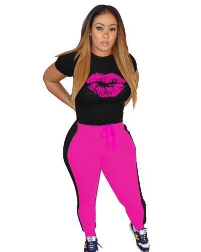 Rose Fashion casual sports lips autumn winter suit