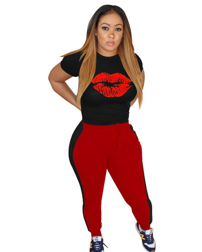 Red Fashion casual sports lips autumn winter suit