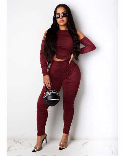 Claret Fashion casual pleated solid color front and back Jumpsuit
