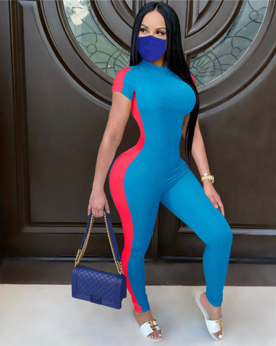 Blue Fashionable and casual autumn Jumpsuit with high crater stripe and short sleeve
