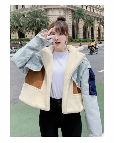 Stitching denim jacket women's clothing
