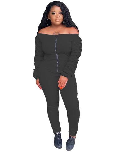 Black Solid color long-sleeved pleated flat-shoulder jumpsuit