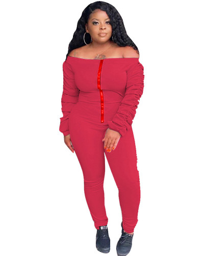 Red Solid color long-sleeved pleated flat-shoulder jumpsuit