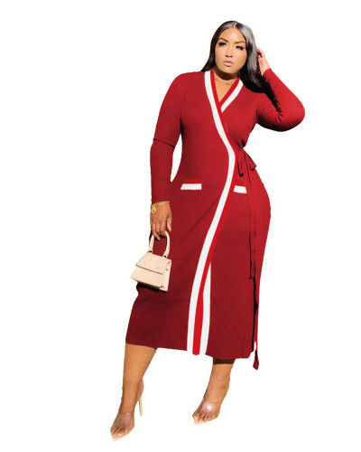 Red Patterned webbing stitching long sleeve long coat