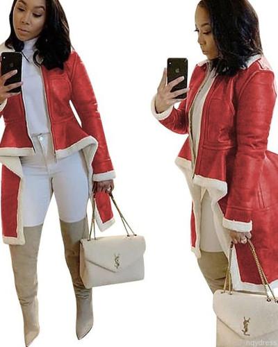 Red Stand-up collar slim-fit irregular hem coat