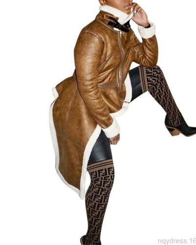 Brown Stand-up collar slim-fit irregular hem coat