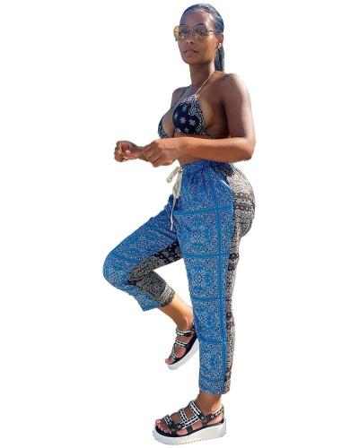 Blue Cashew print contrast casual pants