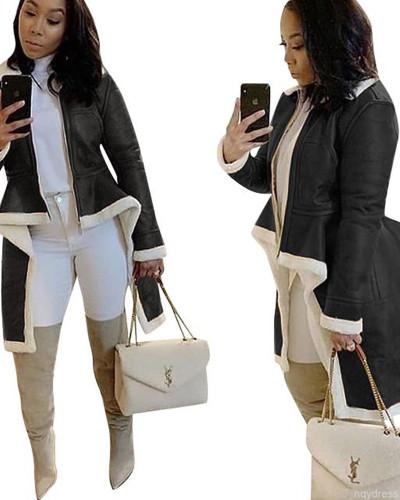 Black Stand-up collar slim-fit irregular hem coat