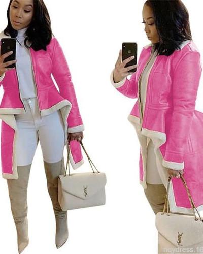 Pink Stand-up collar slim-fit irregular hem coat