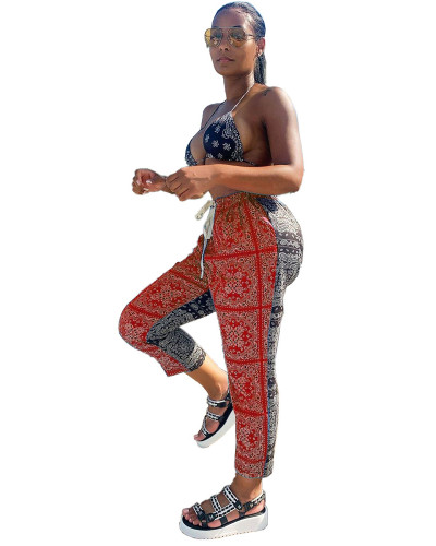 Red Cashew print contrast casual pants