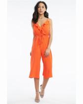Orange Red Deep V-neck short sleeve loose waist strap Jumpsuit