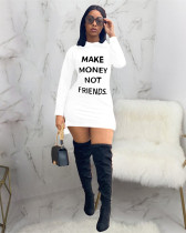 White Casual solid color hooded dress with printed letters