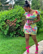 Light Green Ruffle print striped dress