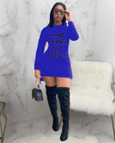 Blue Casual solid color hooded dress with printed letters