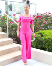 Rose Red Ruffle sexy off shoulder Jumpsuit