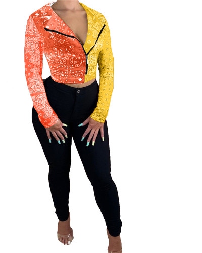 Orange Yellow Totem contrast stitching jacket