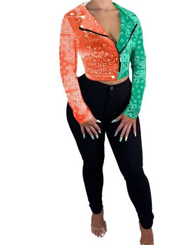 Orange Green Totem contrast stitching jacket