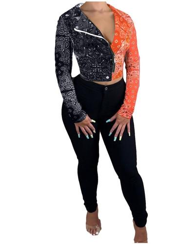 Black Orange Totem contrast stitching jacket