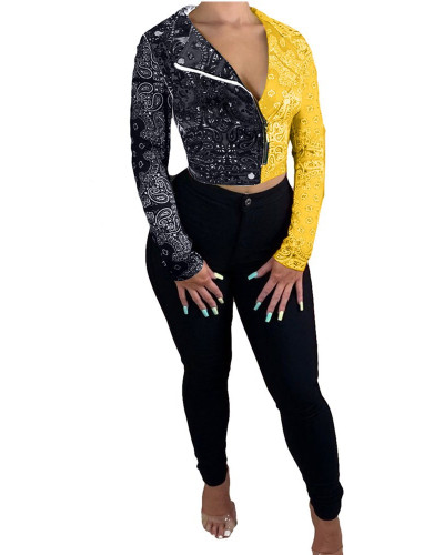 Black YellowTotem contrast stitching jacket