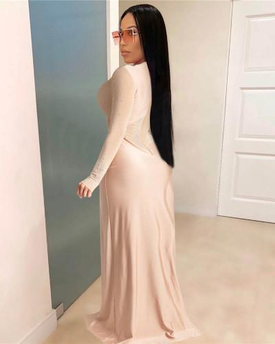 Hot Rhinestone See-through Slim Skirt Jumpsuit