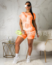 Orange Two piece set of sexy casual short sleeves