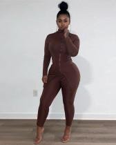Brown High collar split zipper fashion suit