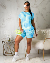Light Blue Two piece set of sexy casual short sleeves