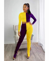 Purple Two piece set of solid color splicing