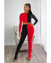 Black Two piece set of solid color splicing