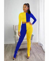 Blue Two piece set of solid color splicing