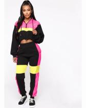 Pink Fashionable two piece matching drawstring Hoodie