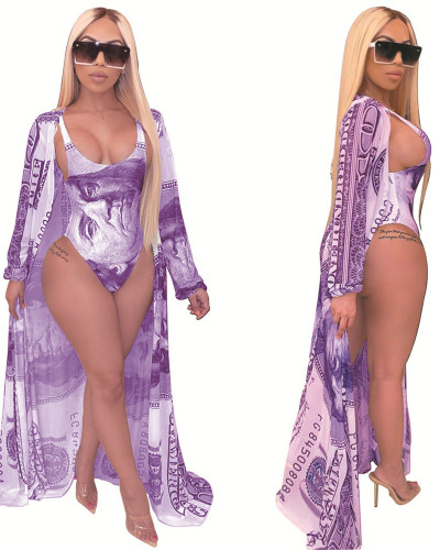 Purple Fashion casual printed Cape + bikini split swimsuit