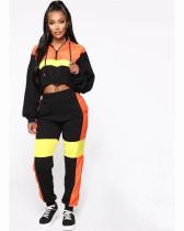 Orange Fashionable two piece matching drawstring Hoodie
