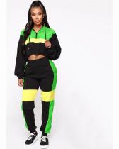 Green Fashionable two piece matching drawstring Hoodie