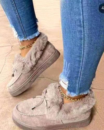 Round toe thick bottom and velvet thick warm cotton shoes women's large size hand-sewn bag shoes snow boots
