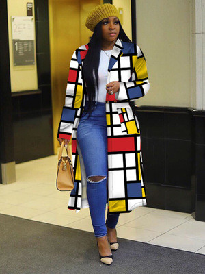 Plaid print double-breasted lapel trench coat long coat