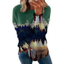 Green 2 Printed long sleeve round neck sweater women