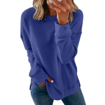 Blue Printed long sleeve round neck sweater women