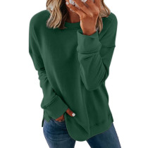 Green Printed long sleeve round neck sweater women