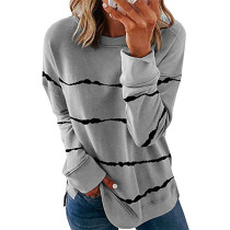 Gray Printed long sleeve round neck sweater women