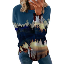 Blue 2 Printed long sleeve round neck sweater women