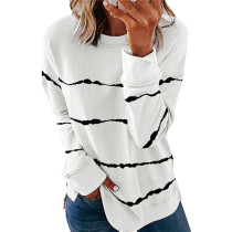 White Printed long sleeve round neck sweater women