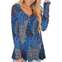 Blue Feather Solid color printed pleated loose T-shirt