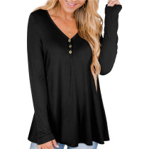 Black Solid color printed pleated loose T-shirt