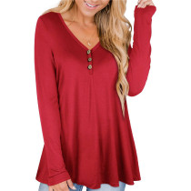 Red Solid color printed pleated loose T-shirt