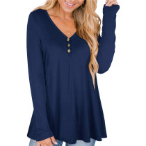Blue Solid color printed pleated loose T-shirt